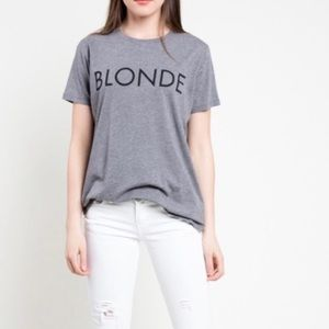 NWT Brunette the Label BLONDE Ryan Grey Cotton Tee